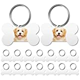 16 Pieces Sublimation Blank Dog Tag Aluminum Dog Tag Bone-Shaped Sublimation Blank Dog Tag Double Sided Dog Tag with Key Ring for Dogs and Cats Pet ID Tag