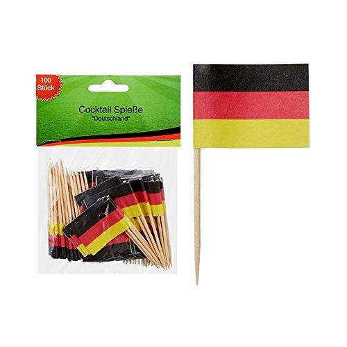 Preis am Stiel 1 Packung - Cocktail Spieße ''Deutschland'' | Fanartikel | Public Viewing | Fanartikel Deutschland | Holzspieße für Fingerfood | Fahnen & Flaggen | WM Fußball