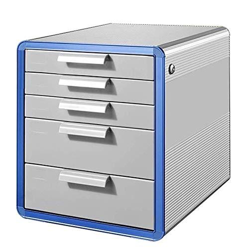 CMmin 5 lade mobiele archiefkast met slot, metalen archiefkast, volledig gemonteerd, aluminiumlegering kantoorkast archiefkast, zwart (286 * 346 * 338mm)
