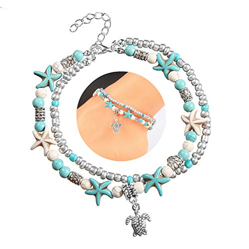 AKOAK 2 Pack Boho Double Anklets Conch Starfish Sand Turtle Pendant Foot Chains Turquoise Stone Beads Charm Beach Bracelet Anklets