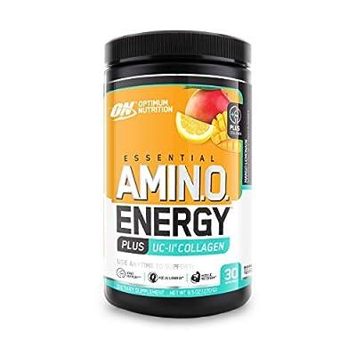 Optimum Nutrition Amino Energy + Collagen Powder - Vitamin C for Immune Support, Pre Workout with Green Tea, Amino Acids, Energy Powder - Mango Lemonade, 30 Servings