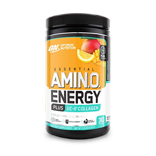 Optimum Nutrition Amino Energy + Collagen Powder - Pre Workout, Post Workout Muscle Recovery Energy Powder with Amino Acids, Vitamin C for Immune Support - Mango Lemonade, 30 Servings