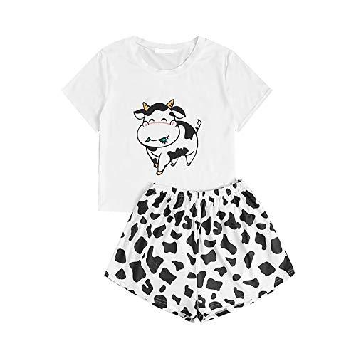 ddfd Conjuntod e Pijama Corto con Estampado de Vaca Lindo para Mujer, Ropa Interior Sexy Linda de Verano de Dos Piezas, Pijama Familiar Suave y CóModo