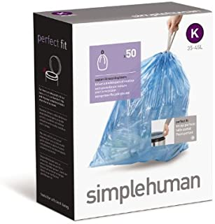 simplehuman Custom Fit Trash Can Recycling Liner K, 35-45 L / 9-12 Gal, 50-Count Box