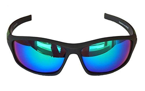 Gil SSC Sportbrille Sonnenbrille Grau grün blau verspiegelt Fahrradbrille Snowboardbrille Motorradbrille M 16 (blau grün verspiegelt)