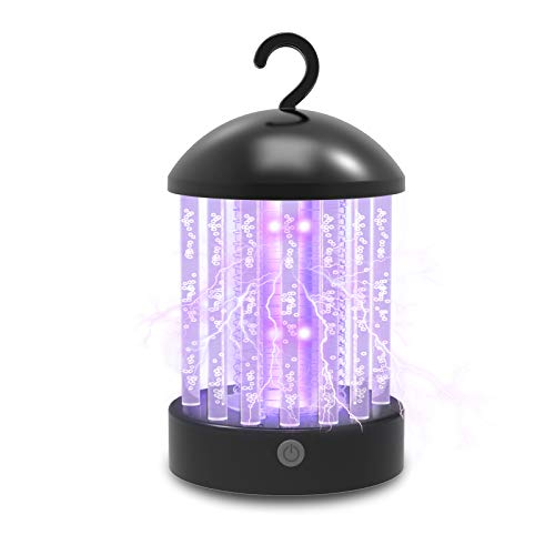 Electric Bug Zapper, USB Charging Mosquito Killer Lamp, Waterproof Insect Fly Traps 2 in 1 Night Light Function with Portable Hook for Indoors Outdoor, Backyard, Patio, Home (Black)