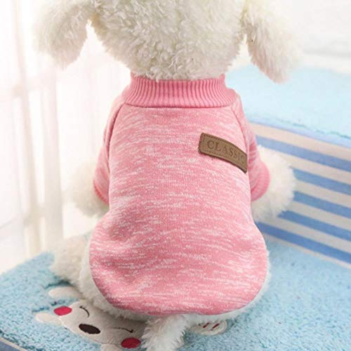PONNMQ Dog Clothes Warm Puppy Outfit Pet Jacket Coat Winter Dog Clothes Soft Sweater Clothing For Small Dogs Chihuahua,Pink,XL