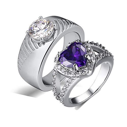 Bishilin Wolframcarbid Ring Verlobung Rund Herz Zirkonia Partnerringe Paar Ringe Set Damen Gr.49 (15.6) + Herren Gr.60 (19.1)