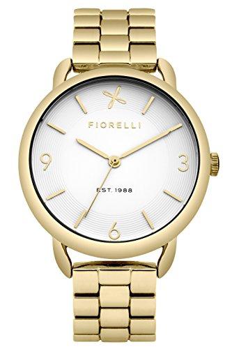 Fiorelli Damen Quarzuhr mit weißem Zifferblatt Analog-Anzeige und Gold Legierung Armband fo023gm