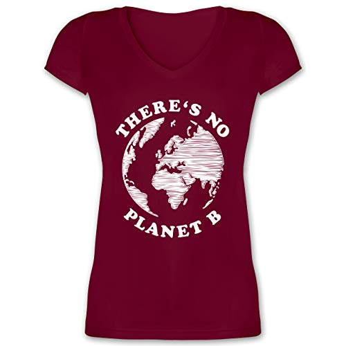 Statement - There is no Planet B - L - Bordeauxrot - Planet b Shirt v - XO1525 - Damen T-Shirt mit V-Ausschnitt