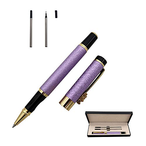 Acoud Fine Nib Ballpoint Pen High-end Business Signature Pen Metal Pen Clip Black Ink Rollerball Pen with Two 0.5mm Replacement Refills Gift Pen Premium Gift Box (Purple)