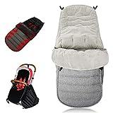 Winter Fußsack, baby Fußsack 3in1 mit Anti-Rutschschutz, passend für Babyschale/Kinderwagenschale/Kinderwagen/Buggy, Verdickt superfeiner Samt, Geeignet für Alter 0-6(Grau)