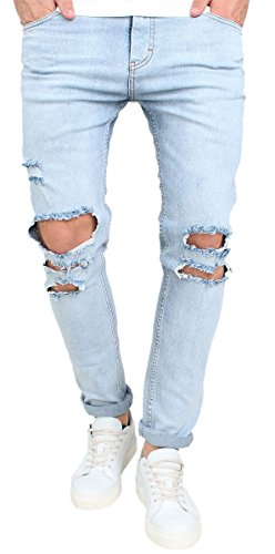 Men's Vintage Skinny Fit Destroyed Cotton Denim Jeans with Knee Open Rips (40, Blue)