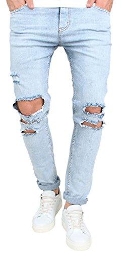 Men's Vintage Skinny Fit Destroyed Cotton Denim Jeans with Knee Open Rips (40, Blue)