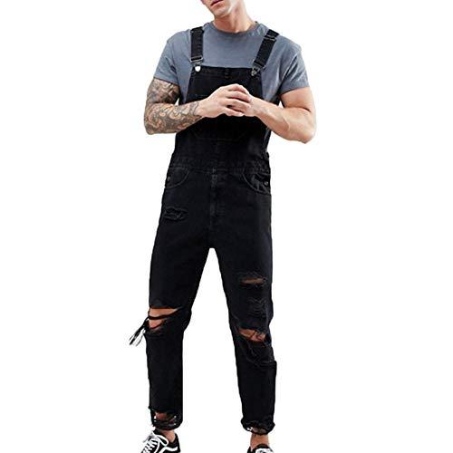 Casual Slim Fit Salopette Moda Uomo Jeans Strappati,Nero,XL
