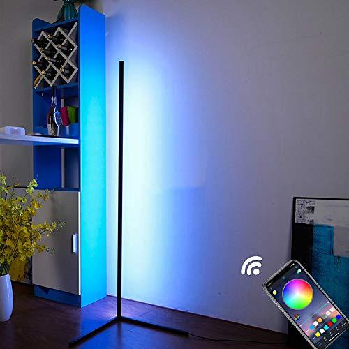 HCSM Eck-Stehleuchte,RGB LED Dimmbare Stehlampe mit Mobile App-Steuerung und Sync mit Musik, Moderner minimalistischer Stil, Ambient Ecklichter für Wohnzimmer, Schlafzimmer, Spielzimmer