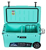 Milee-Heavy Duty Wheeled Cooler 70QT (Sea Foam Green) ($50.0 Accessories Included) with Free Divider,Basket and Cup Holder