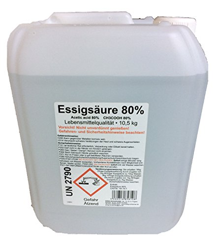Schleicher's 10 Liter (ca. 10,7kg Inhalt) Essigsäure 80% LEBENSMITTELQUALITÄT E 2 60
