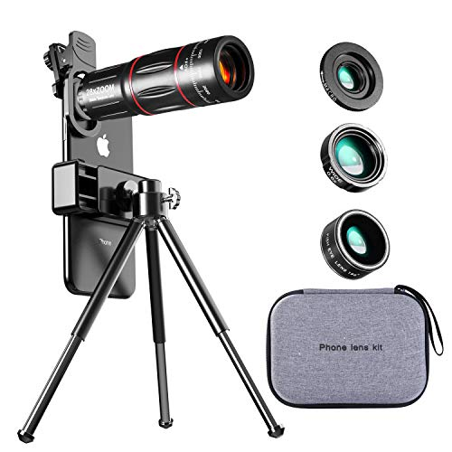 Telescopio Monocular con Lentes para Teléfono Móvil, 4 en 1 Kit con 28X Teleobjetivo, 198° Fisheye, 0.6X Gran Angular, 20X Macro, Lentes BLU-Ray para Mejor Resolución, Universal iOS Android
