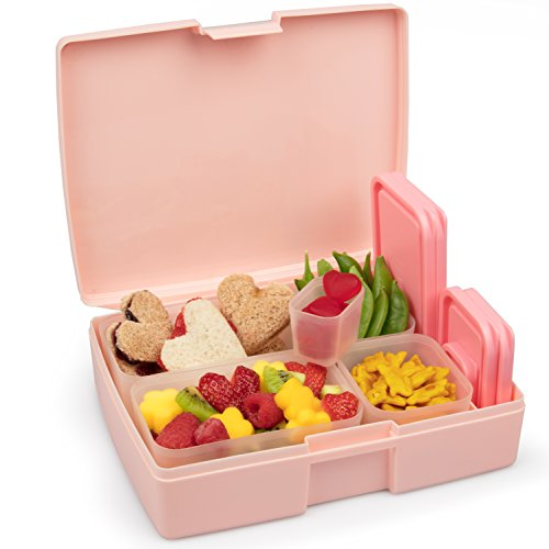 Leak-proof Bento Lunch Box with 5 Removable Containers Translucent Pink