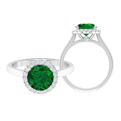Anillo de esmeralda, anillo de compromiso de halo, piedras preciosas redondas de 2,30 quilates, anillo de solitario D-VSSI de 8 mm, anillo de ajuste de corona, 10K Oro blanco, Size:EU 49