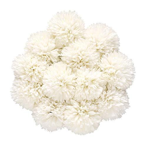 Tifuly Künstliche Hortensie Blumen, 11 Zoll Seide Pompon Chrysantheme Kugel Blumen für Hausgarten Party Büro Dekoration, Braut Hochzeitssträuße, Blumenschmuck, Mittelstücke(12 Stück, Weiß)