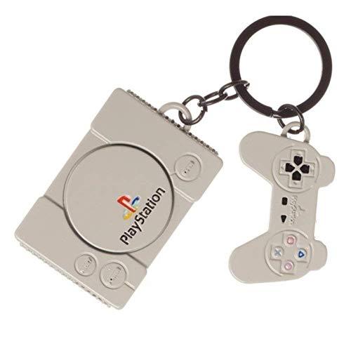 Sony Offizielle PlayStation Konsole & Controller Retro Metall Schlüsselanhänger