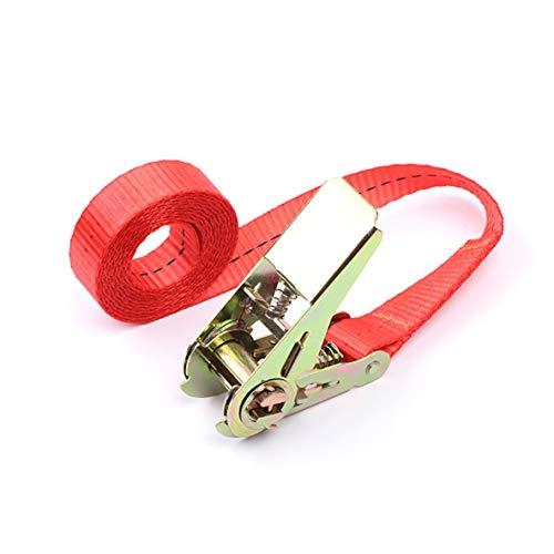 nbvmngjhjlkjlUK Schnallenzurrgurt Frachtgurte für Auto-Motorrad Fahrrad mit Metallschnalle Abschleppseil Starker Ratschengurt für Gepäcktasche (rot, 2 Meter)