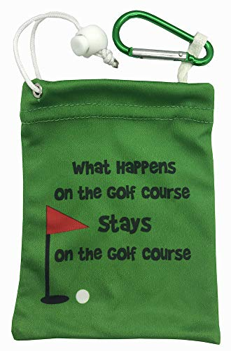 Giggle Golf Microfiber Tee Bag with Golf Luggage Tag | Great Golf Bag Accessory (What Happens On The Golf Course)