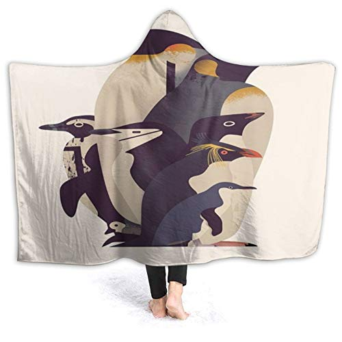 SUHETI Manta con Capucha,Pingüinos de diversas Razas sobre un Fondo Beige,pingüinos Emperador,Suave Siesta ponible Mantas de Viaje/Vacaciones/Casual 80x60