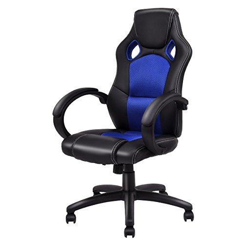 Giantex Gaming Chair Racing Chair High Back Bucket Seat Swivel Executive Office Computer Task Desk Gaming Chair (Blue) blue chair gaming Whale