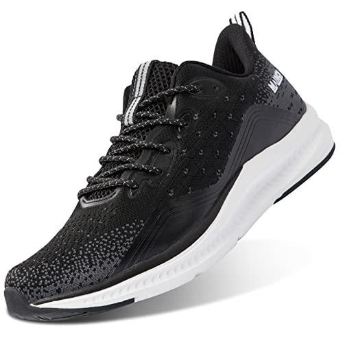 Anbenser Zapatillas de Hombres Deporte Zapatos Ligeras Comodo Zapatos Running Antideslizante Calzado Mesh Transpirables para Exterior Correr Gimnasio, Negro, 41 EU