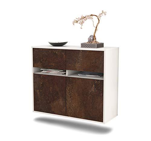 Dekati dressoir Akron hangend (92x77x35cm) rompje wit mat | front roestig industrieel ontwerp | Push-to-Open