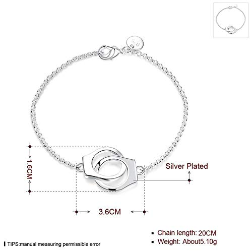Armband Armreif,Schmuck Geschenk, New Sexy Fashion Charms Handcuffs Bracelet 925 Jewelry Silver Plated Link Chain Bangle Women Bracelet Gift Ladies Jewelry Silver Plated