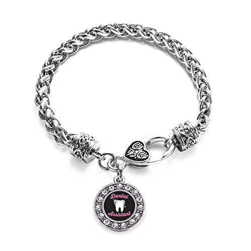 Inspired Silver - Dental Assistant Braided Bracelet for Women - Silver Circle Charm Bracelet with Cubic Zirconia Jewelry