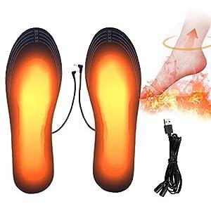 PINPOXE Climatizada Plantillas, Suelas calentables,Calentadores de Pies, para al Aire Libre Invierno Senderismo Camping:41-46se Puede Cortar y Lavable.