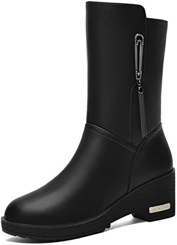BERTERI Women's Round Head Square Heel Mid-Calf Boots Metal Decorative Boot