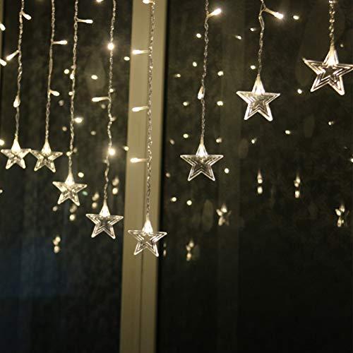 Egosy LED Lichtervorhang Lichter Weihnachtsbeleuchtung Eisregen Lichterkette Lichtervorhang Eiszapfen Außen Innen Deko für Garten Party Hochzeit(Warm White)