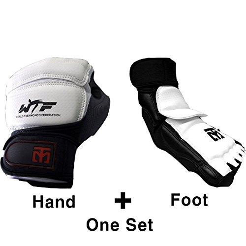 Mooto Koreanische Wache Taekwondo EIN Satz extera s2 Hand mit Fußschutz Gear equipt S (Hand + Fuß) Weiß + schwarz