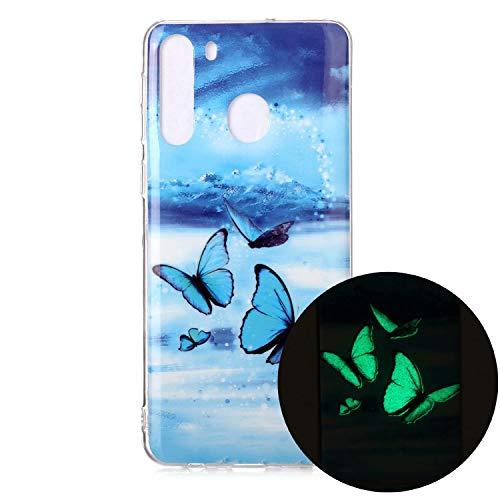 Miagon Leuchtend Luminous Hülle für Samsung Galaxy A21,Fluoreszierend Licht im Dunkeln Handyhülle Silikon Case Handytasche Stoßfest Schutzhülle,Blau Schmetterling