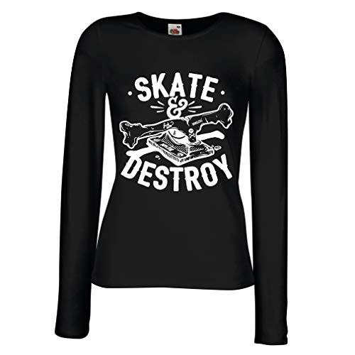 lepni.me Maniche Lunghe Femminili T-Shirt Skate And Destroy, Regalo per Skater, Amanti dello Skateboard (Small Nero Multicolore)