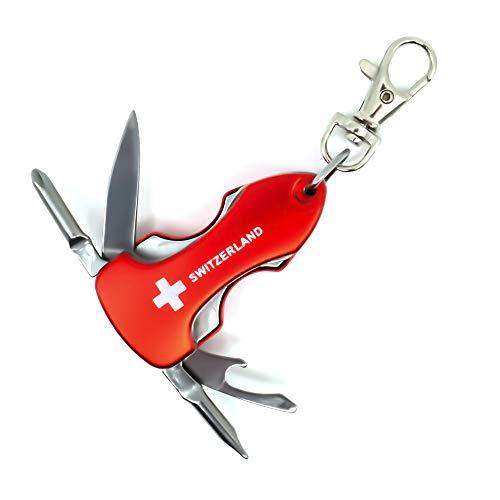 Porte-clés outil multifonction 5 en 1 avec inscription « Switzerland » Outil multifonction avec couteau, décapsuleur, 2 tournevis et lumière LED