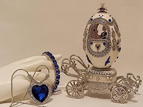 DESIGNER Faberge Egg TITANIC Love Passion Lealtaltad boda nupcial ducha regalo para novia grande corazón del océano collar y pulsera de tenis y música boda Natural HANDCARV SET SAPPHIRE