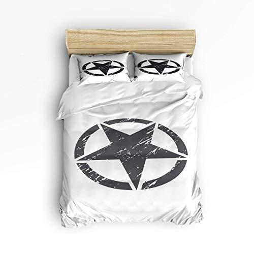 Butlerame 3 Piece Bedding Set Closure Simple Grey White Star Sign Comforter Cover Set Duvet Cover