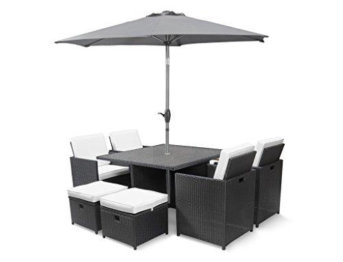 Roe Gardens Premium Rattan Dining Set, Cube 8 Seat Garden Patio Conservatory Furniture High Back Chairs, Storage Stools & Ice Bucket inc Rain Cover (Black Rattan & Parasol)