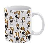 Linda taza de cerámica, té, café, blanco, negro, taza, diseños superiores Pet Dog Funny Element Emoticon Pack regalos...