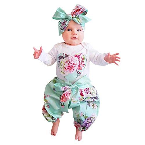 bebe fille printemps-été ensemble vetements bebe garcon naissance chemise manteau fill pas cher blouse pyjama t shirt combinaison manches longues barboteuse + pantalons + bandeau (18Mois, Blanc)