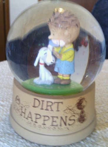 RARE - Peanuts Snoopy and PIG PEN Snowglobe, Waterglobe - DIRT HAPPENS
