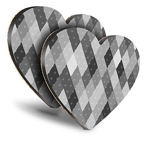Destination Vinyl ltd Great Posavasos (juego de 2) corazón – BW – Patrón de diamante bebida brillante posavasos / protección de mesa para cualquier tipo de mesa #35182