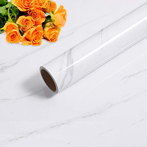 Shackcom Marmor Folie Selbstklebende Klebefolie 40x300cm Weiß PVC Marmorfolie Möbelaufkleber Folie DIY ölbeständig Wasserdicht Tapete Dekofolie für Zuhause Küche Wohnzimmer